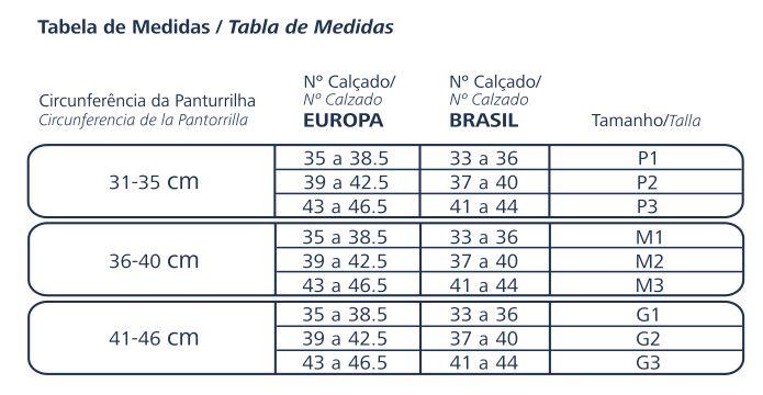 tabela de medidas Meia de Compressão Esportiva Sigvaris